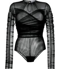 brognano sheer tulle bodysuit - black
