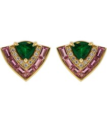 pink sapphire, emerald, and diamond tiered stud earrings