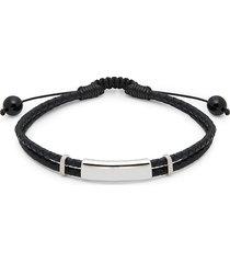 saks fifth avenue men's sterling silver, black onyx & leather bracelet