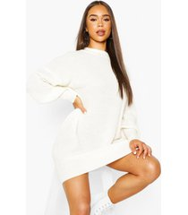 extreme oversized crew neck knitted dress, cream