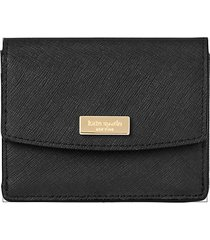 kate spade new york women's textured leather snap wallet - black