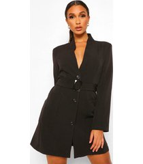 blazer jurk met ceintuur en zak detail, zwart