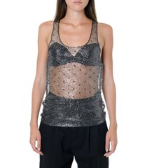 saint laurent chain link embellished sleeveless top