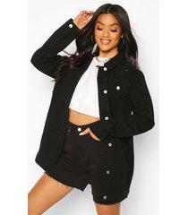 distressed longline jean jacket, black