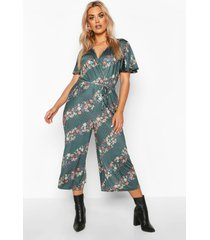 plus floral spot stripe wrap self belt culotte jumpsuit, green