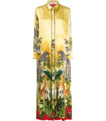 f.r.s for restless sleepers tropical print shirt dress - yellow