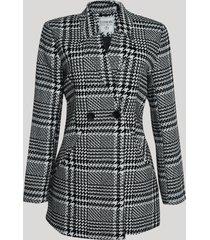 casaco feminino estampado xadrez com bolsos preto