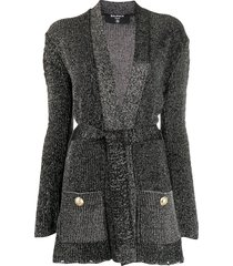 balmain lurex knit cardigan - black