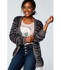 maurices womens gray zebra print open front cardigan