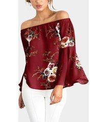 blusas de manga larga con estampado floral de gasa roja fuera del hombro