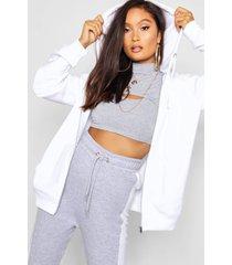 basic hoodie met rits, white