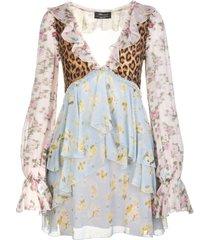 blumarine short dress in printed multicolor silk