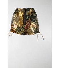 dsquared2 tropical print lamé shorts