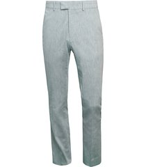 slim-fit chambray flat-front trousers