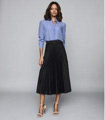 reiss dora - pleated midi skirt in black, womens, size 12