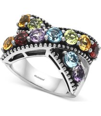 effy multi-gemstone crisscross statement ring (4-1/3 ct. t.w.) in sterling silver