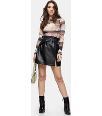 black leather paperbag mini skirt - black