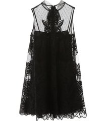 red valentino tulle mini dress with floral embroidery