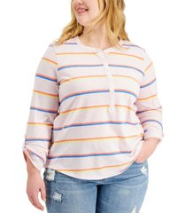 style & co plus size cotton striped roll-tab top, created for macy's