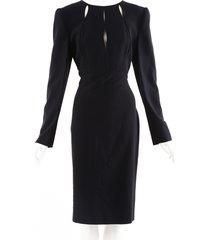 alexander mcqueen black silk cut out midi dress black sz: l