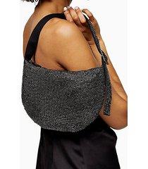 di gunmetal diamanté shoulder bag - gunmetal