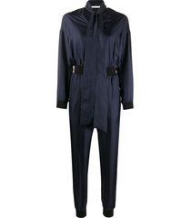 karl lagerfeld v-neck zipped jumpsuit - blue