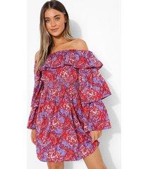 paisley jurk met uitgesneden hals en mouw franjes, lilac