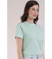 t-shirt feminina mindset manga curta decote redondo verde claro 1