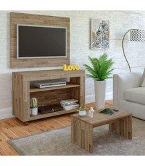 sala de estar completa para tv até 32 polegadas cristal rústico - artely