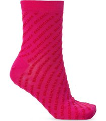 magenta and red logo socks