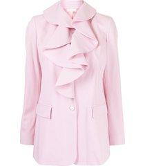 delpozo tuxedo ruffled blazer jacket - pink