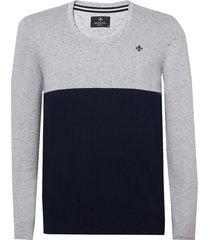 blusa dudlaina tricot manga longa botone listrado masculina (cinza medio, xgg)