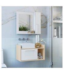 conjunto banheiro criando mobilia balcão suspenso gb02 + espelheira ep02