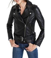 women's madewell ultimate leather jacket, size x-large - black