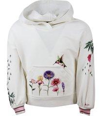 monnalisa crewneck sweatshirt with long sleeve hood with flower print