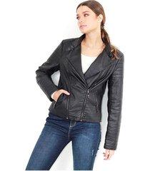 """chaqueta  tipo """"biker """", efecto piel, manga larga y cierres delanteros color-negro-talla-l"""