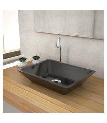 cuba de apoio p/banheiro compace messina rt45w retangular preta