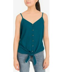 hippie rose juniors' tie-front waffle-knit tank top