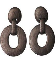 acacia wood oval link clip earrings, women's, black, josie natori