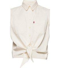 alina tie shirt icy ecru kortärmad skjorta creme levi´s women