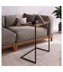 mesa lateral para sala estilo industrial artesano vermont e preto