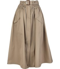 beige parka skirt with belt and drawstring