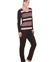 pijama monthal preto com blusa preto