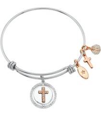 """unwritten """"faith hope love"""" cross bangle bracelet in stainless steel & rose gold-tone"""