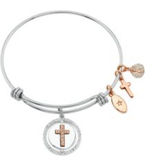 "unwritten ""faith hope love"" cross bangle bracelet in stainless steel & rose gold-tone with silver plated charms"