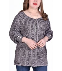 ny collection women's plus size long sleeve cuffed rib pullover top
