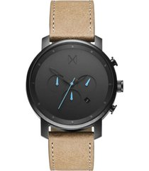 mvmt men's chrono sandstone leather strap watch 45mm