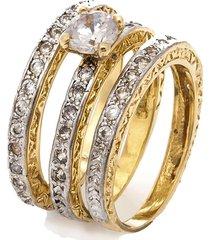anel kumbayá solitário e aparador impéria semijoia banho de ouro 18k cravejado com zircônias detalhe em ródio