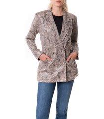 women's blanknyc snake print faux leather blazer, size x-large - beige