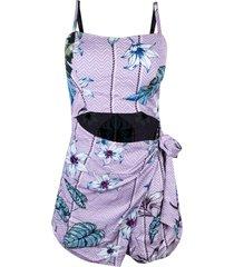 macaquinho linda d+ floral saia lilas - lilã¡s - feminino - linho - dafiti